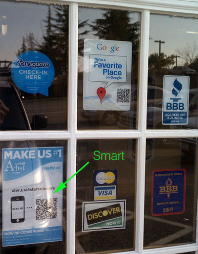 5 Star Auto Care Auburn CA | KCRA Vote QR Code on Store Front