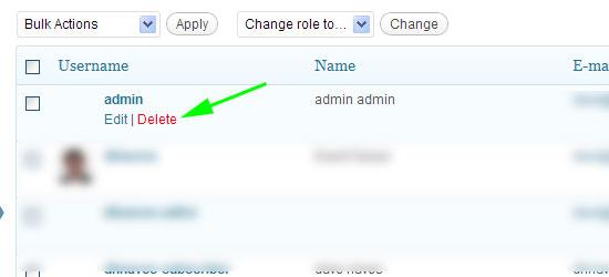 deleting user in wordpress