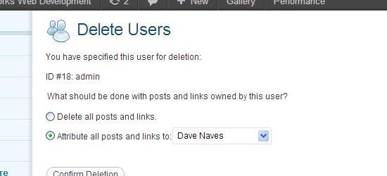 Delete user in WordPress