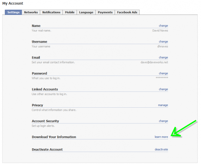 Facebook Account Settings Page image