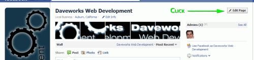 Facebook Page Admin Screen - Click edit button first
