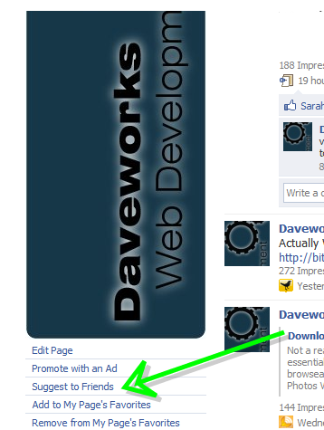 facebook suggest to friends link (still there on pages you admin)