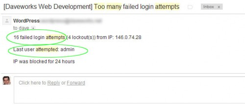 Wordpress - too many failed login attempts using the username 'admin'